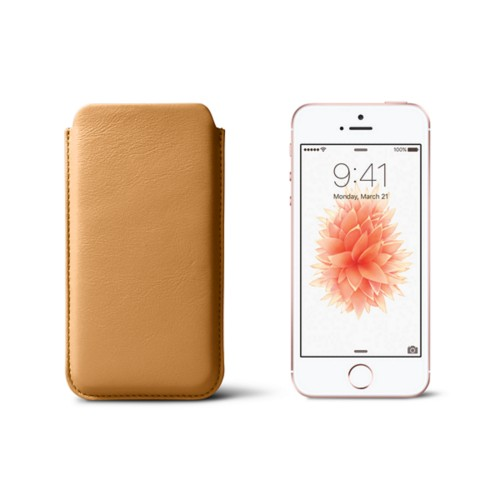 Classic iPhone SE/5/5s sleeve - Natural - Smooth Leather