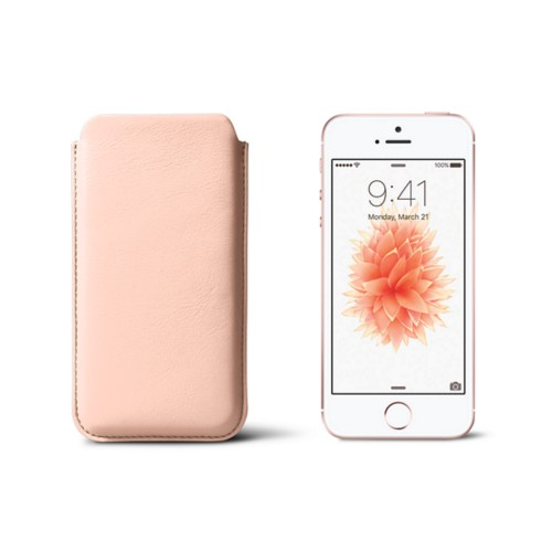 Classic iPhone SE/5/5s sleeve - Nude - Smooth Leather