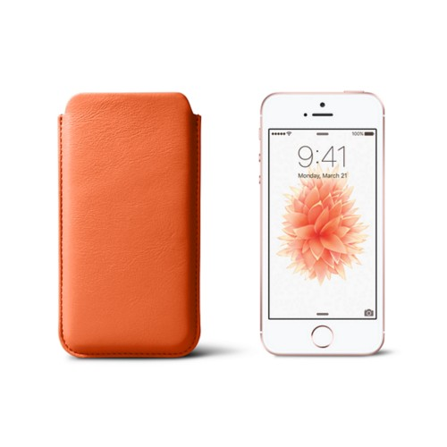 Classic iPhone SE/5/5s sleeve - Orange - Smooth Leather