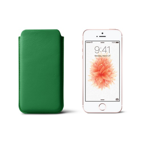 Classic iPhone SE/5/5s sleeve - Light Green - Smooth Leather