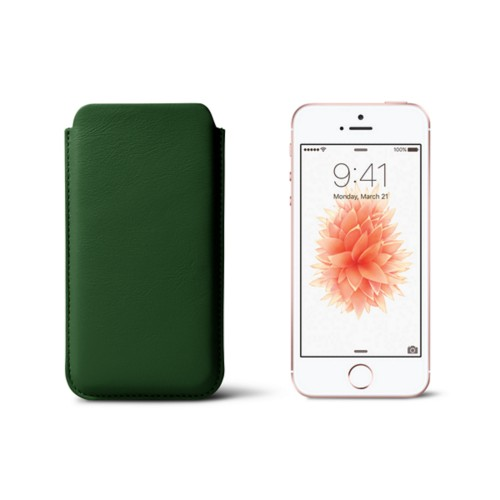 Classic iPhone SE/5/5s sleeve - Dark Green - Smooth Leather