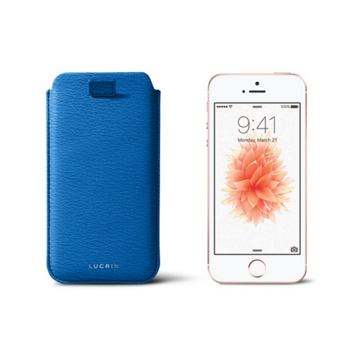 iPhone SE/5 /5s pull-strap case - Royal Blue - Goat Leather