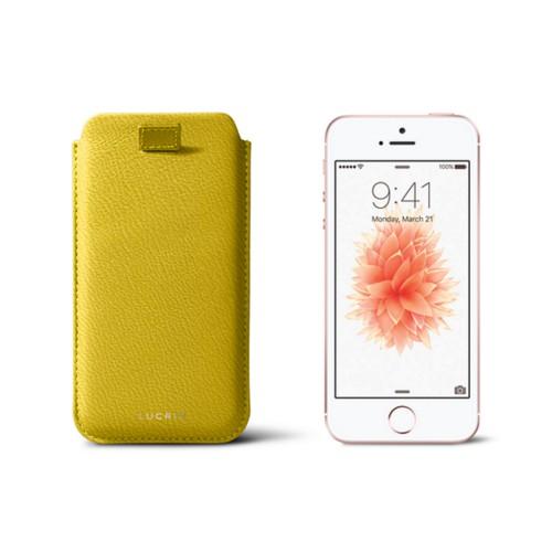 iPhone SE/5 /5s pull-strap case - Lemon Yellow - Goat Leather
