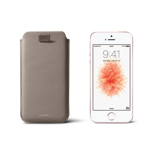 iPhone SE/5 /5s pull-strap case - Light Taupe - Goat Leather