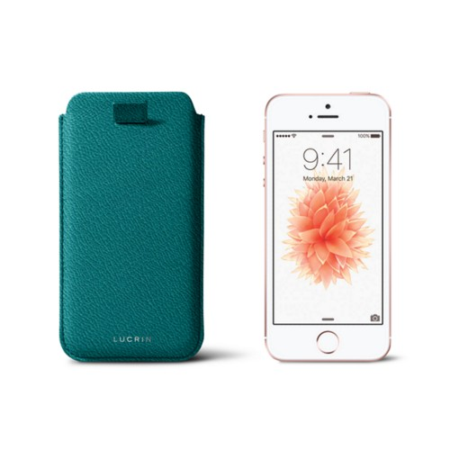 iPhone SE/5 /5s pull-strap case - Sea Green - Goat Leather
