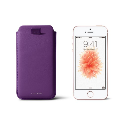 iPhone SE/5 /5s pull-strap case - Lavender - Smooth Leather