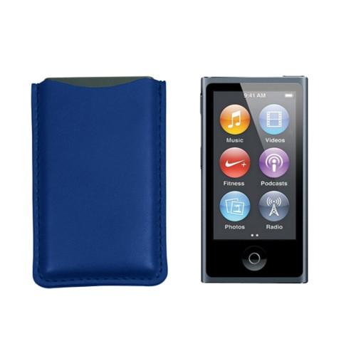 Tasche für iPod Nano - Azurblau  - Glattleder