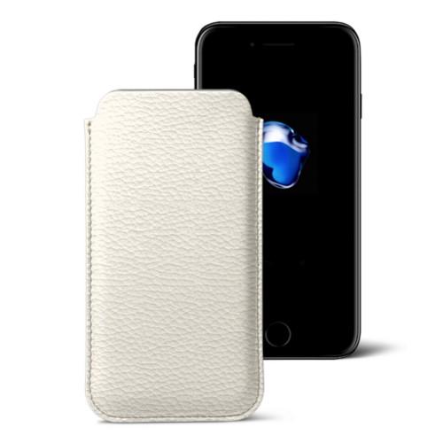 Klassisches Etui für das iPhone 7 Plus - Gebrochen Weiß - Genarbtes Leder