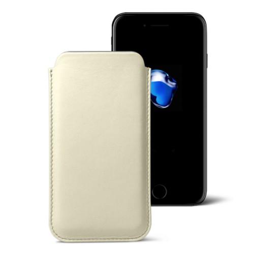 Klassisches Etui für das iPhone 7 Plus - Gebrochen Weiß - Glattleder