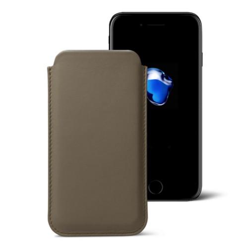 Funda clásica para iPhone 7 Plus - Marrón topo - Piel Liso