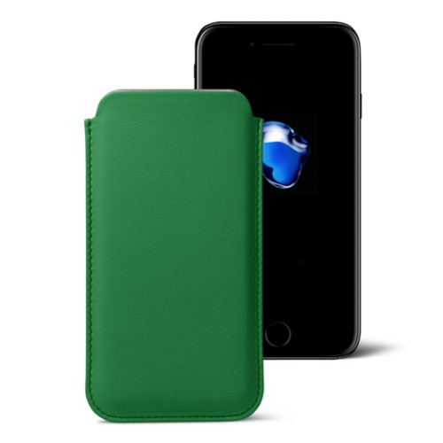 Klassisches Etui für das iPhone 7 Plus - Hellgrün - Glattleder