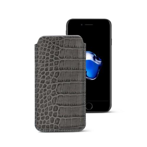 Funda clásica para iPhone 7 Plus - Gris Ratón - Piel Coco Grabado