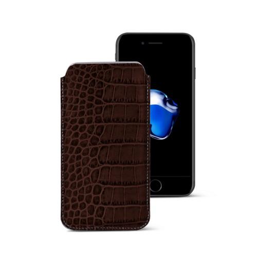 Funda clásica para iPhone 7 Plus - Marrón oscuro - Piel Coco Grabado