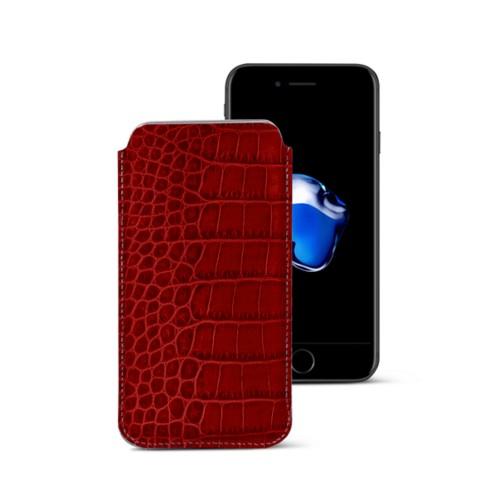Funda clásica para iPhone 7 Plus - Rojo - Piel Coco Grabado