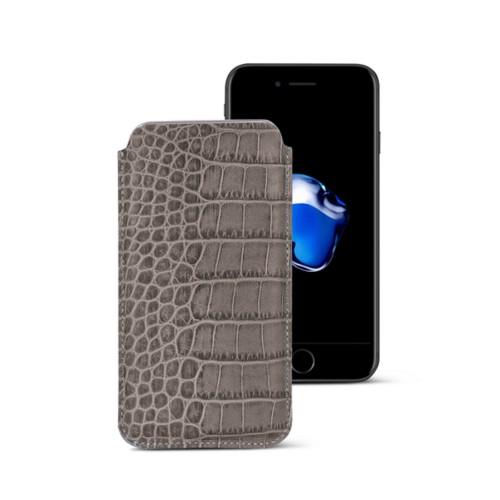 Funda clásica para iPhone 7 Plus - Taupe Luz - Piel Coco Grabado