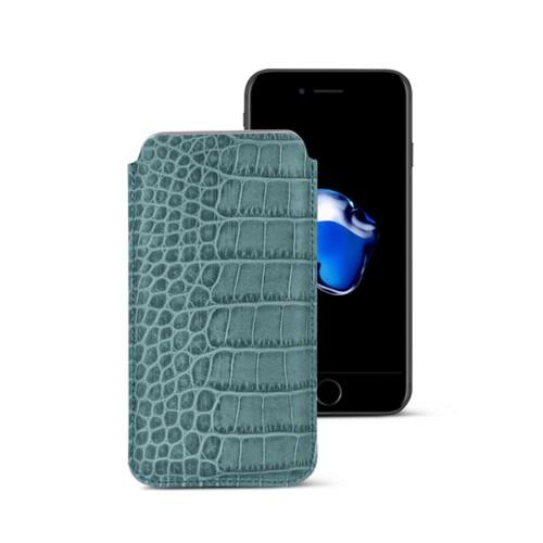 Funda clásica para iPhone 7 Plus - Azul turqués - Piel Coco Grabado