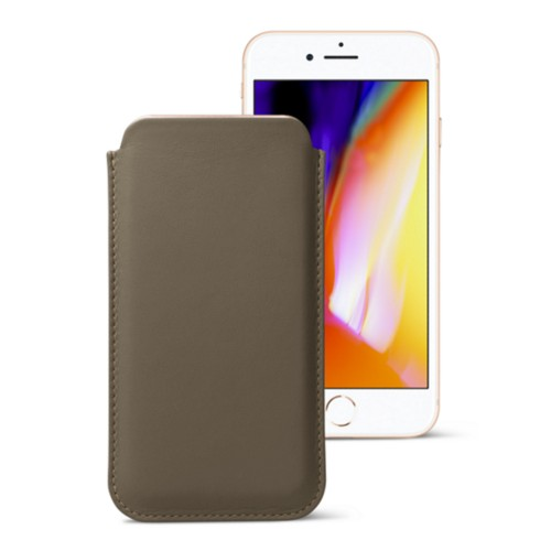 Classic case for iPhone 8 Plus - Dark Taupe - Smooth Leather