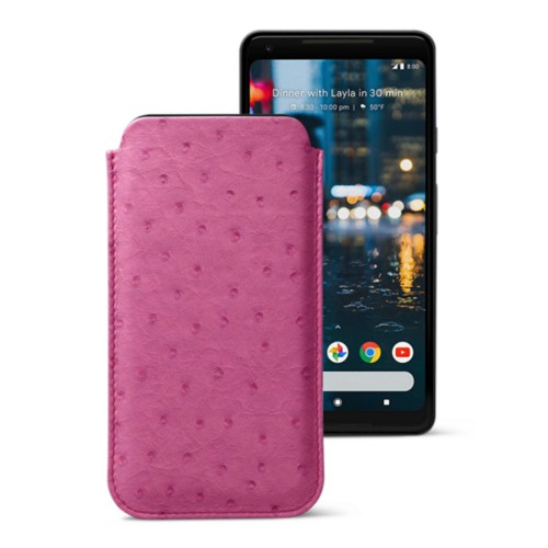 Sleeve for Google Pixel 2 XL - Fuchsia  - Real Ostrich Leather