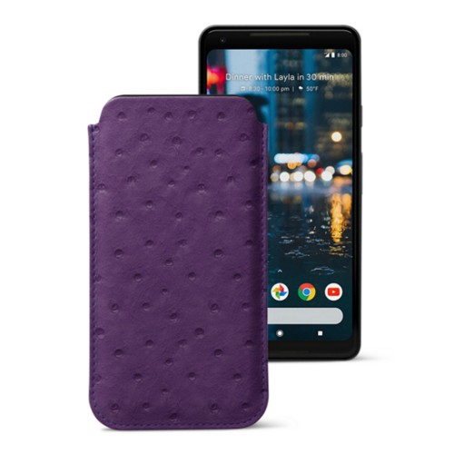 Sleeve for Google Pixel 2 XL - Purple - Real Ostrich Leather