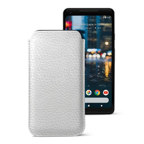 Sleeve for Google Pixel 2 XL - White - Granulated Leather