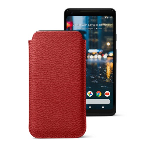 Sleeve for Google Pixel 2 XL - Red - Granulated Leather