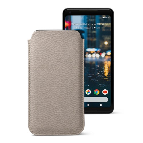 Sleeve for Google Pixel 2 XL - Light Taupe - Granulated Leather