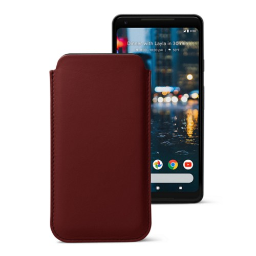 Sleeve for Google Pixel 2 XL - Burgundy - Smooth Leather