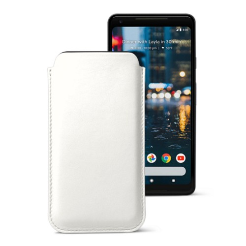 Sleeve for Google Pixel 2 XL - White - Smooth Leather