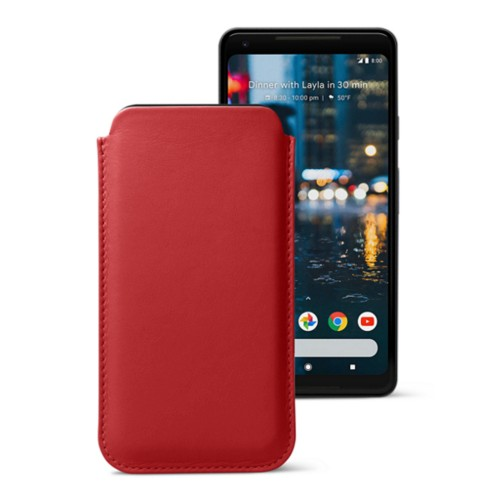Sleeve for Google Pixel 2 XL - Red - Smooth Leather