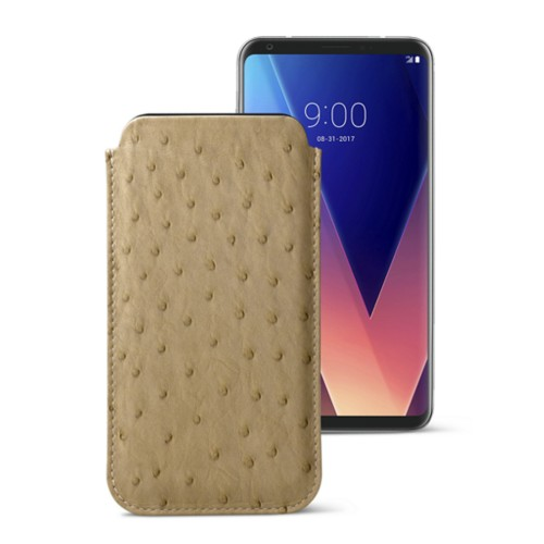 Classic case for LG V30 - Beige - Real Ostrich Leather