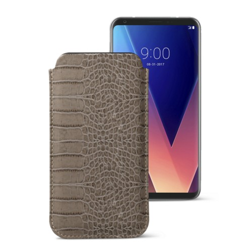 Classic case for LG V30 - Light Taupe - Crocodile style calfskin