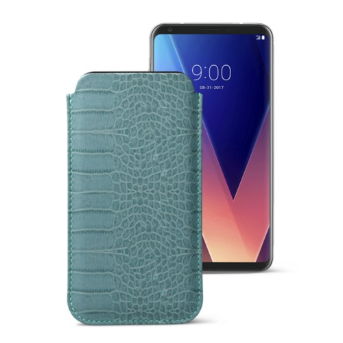 Classic case for LG V30 - Turquoise - Crocodile style calfskin