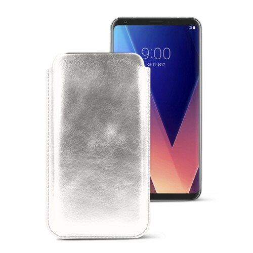 Classic case for LG V30 - Silver - Metallic Leather
