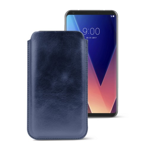 Classic case for LG V30 - Navy Blue - Metallic Leather