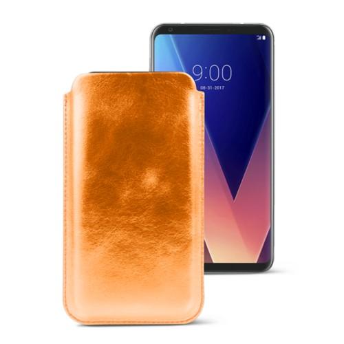 Classic case for LG V30 - Orange - Metallic Leather