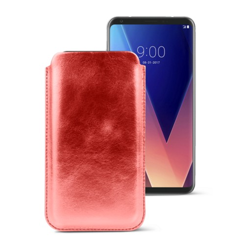 Classic case for LG V30 - Red - Metallic Leather