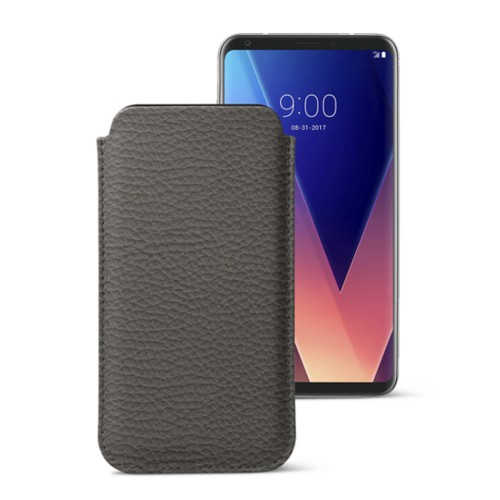 Classic case for LG V30 - Mouse-Grey - Granulated Leather