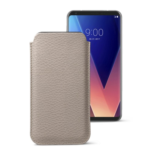 Classic case for LG V30 - Light Taupe - Granulated Leather