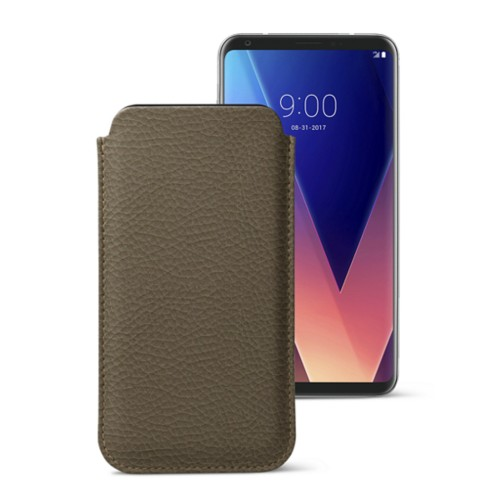 Classic case for LG V30 - Dark Taupe - Granulated Leather