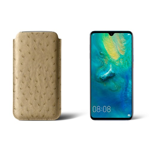 Huawei Mate 20 Protective Sleeve - Beige - Real Ostrich Leather