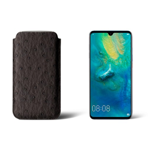 Huawei Mate 20 Protective Sleeve - Dark Brown - Real Ostrich Leather
