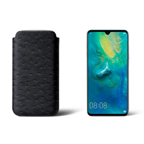 Huawei Mate 20 Protective Sleeve - Black - Real Ostrich Leather