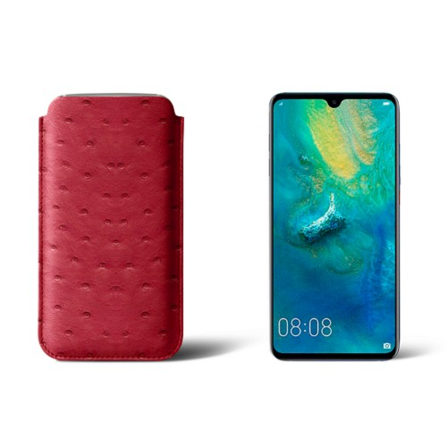 Huawei Mate 20 Protective Sleeve - Red - Real Ostrich Leather