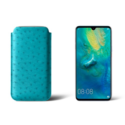 Huawei Mate 20 Protective Sleeve - Turquoise - Real Ostrich Leather