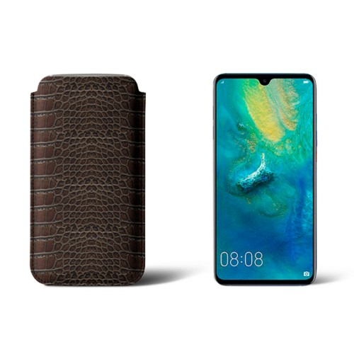 Huawei Mate 20 Protective Sleeve - Dark Brown - Crocodile style calfskin
