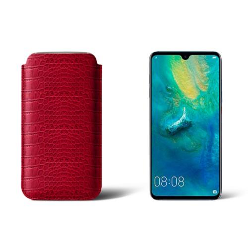 Huawei Mate 20 Protective Sleeve - Red - Crocodile style calfskin