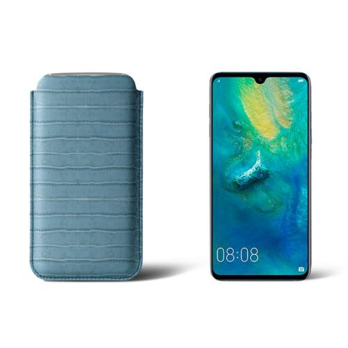 Huawei Mate 20 Protective Sleeve - Turquoise - Crocodile style calfskin