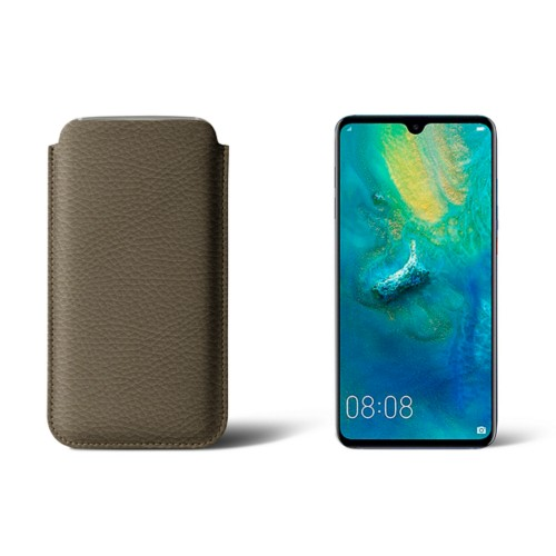 Huawei Mate 20 Protective Sleeve - Dark Taupe - Granulated Leather