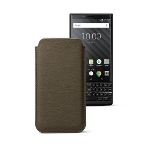 Étui Classique BlackBerry Key 2/Key 2 LE - Taupe Foncé - Cuir Grainé