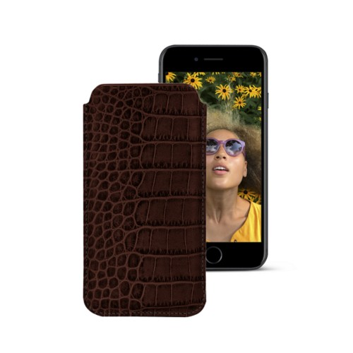 Classic case for iPhone 7 - Dark Brown - Crocodile style calfskin